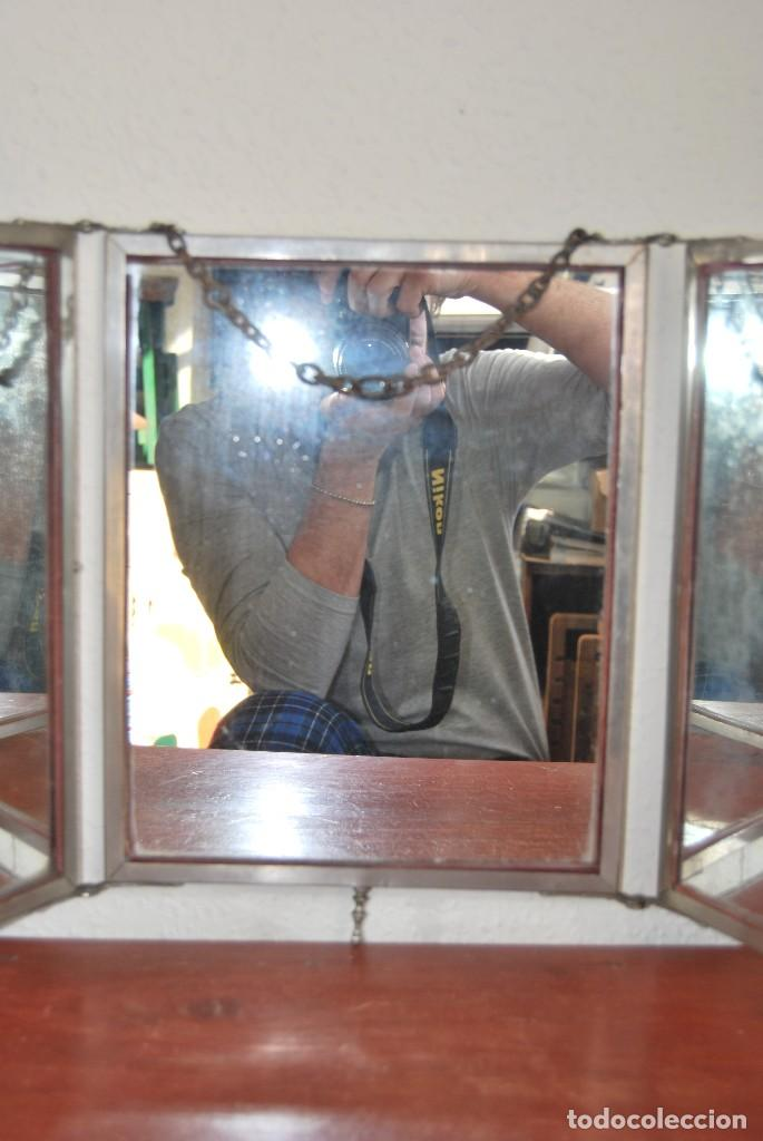 Antigüedades: ESPEJO TRÍPTICO - MARCO METAL - CUATRO ESPEJOS, CELULOIDE Y SÍMIL PIEL - ÓLEO - BREVETE - S.XIX - Foto 9 - 101434283