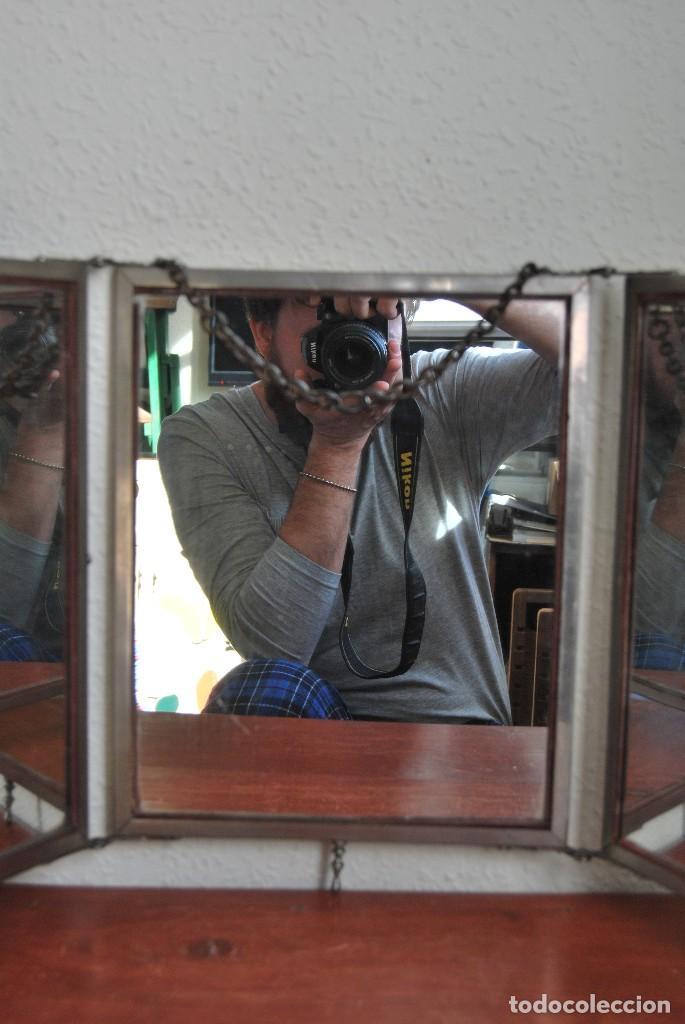 Antigüedades: ESPEJO TRÍPTICO - MARCO METAL - CUATRO ESPEJOS, CELULOIDE Y SÍMIL PIEL - ÓLEO - BREVETE - S.XIX - Foto 10 - 101434283