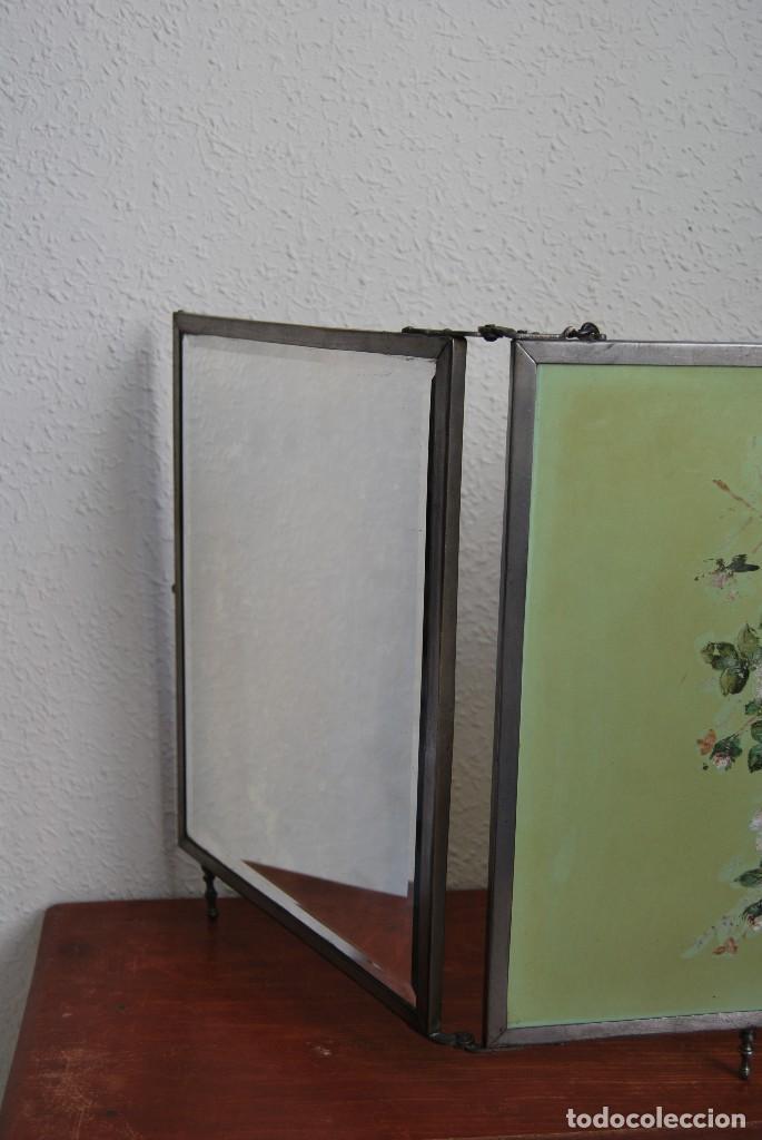 Antigüedades: ESPEJO TRÍPTICO - MARCO METAL - CUATRO ESPEJOS, CELULOIDE Y SÍMIL PIEL - ÓLEO - BREVETE - S.XIX - Foto 13 - 101434283