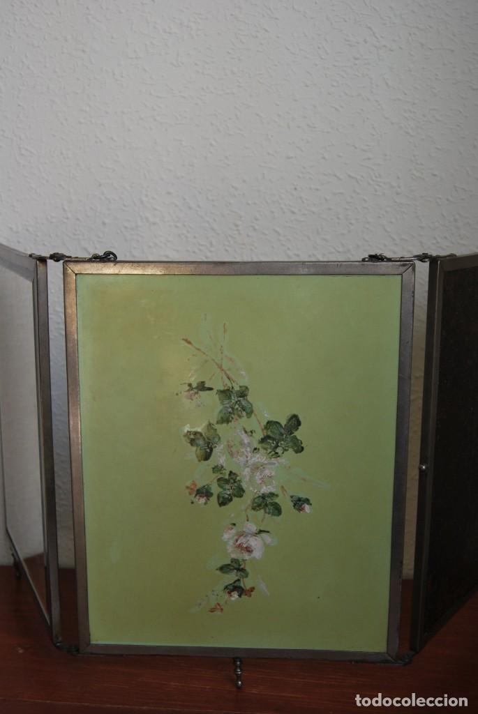 Antigüedades: ESPEJO TRÍPTICO - MARCO METAL - CUATRO ESPEJOS, CELULOIDE Y SÍMIL PIEL - ÓLEO - BREVETE - S.XIX - Foto 14 - 101434283