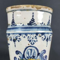 Antigüedades: ALBARELO O POTE DE FARMACIA. CERÁMICA PINTADA A MANO. CATALUÑA. SIGLO XVIII-XIX.. Lote 101520403