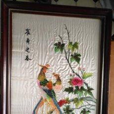 Antigüedades: GRAN CUADRO BORDADO EN SEDAS BORDADOS A MANO CHINO JAPONES FILIPINO ORIENTAL ... ANTIGUO. Lote 206306242