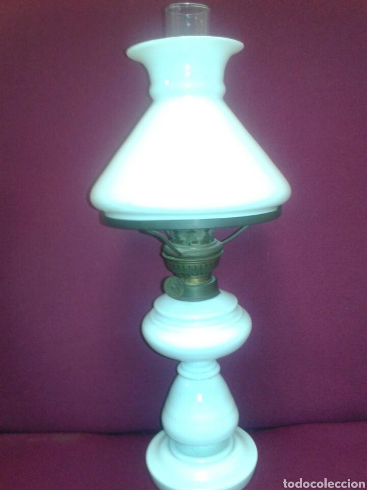 ANTIGUO QUINQUEL OPALINA (Antigüedades - Iluminación - Quinqués Antiguos)