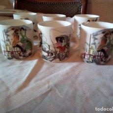 Antigüedades: JUEGO DE 6 TAZAS DE CAFÉ LIMOGES,DECORACION TRANSPORTES ANTIGUOS.. Lote 101560255