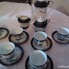 Antigüedades: ANTIGUO JUEGO DE CAFÉ DE PORCELANA MADE IN JAPAN,AUTENTICO CON LA IMAGEN EN EL FONDO DE LAS TAZAS.. Lote 101617711
