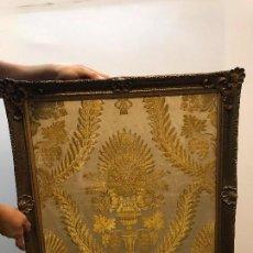 Antigüedades: LOTE DE 3 BORDADOS LITURGICOS ENMARCADOS DE GRAN CALIDAD. Lote 101634615