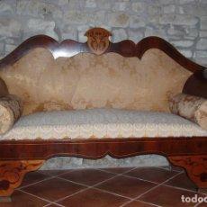 Antigüedades: BANCO, SOFÁ FERNANDINO 1830 APROX. CAOBA, BOJ, SEDA, ENCAJE... IMPRESIONANTE PIEZA.. Lote 101673279