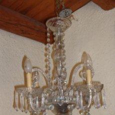 Antigüedades: ANTIGUA LAMPARA ARAÑA DE CRISTAL TALLADO. ÉPOCA ISABELINA. ORIGINAL.. Lote 101678571