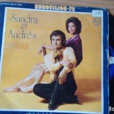 Discos de vinilo: SIMNGLE (VINILO) DE SANDRA & ANDRES EUROVISION 1972. Lote 101688179