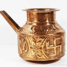 Antigüedades: JARRA HINDU 100 % COBRE CON PROPIEDADES TERAPEUTICAS CON CRUZ GAMADA ESVASTICA,VER DESCRIPCION INDIA. Lote 101761751
