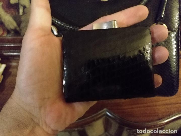 Antigüedades: bolso fiesta de piel de serpiente negro antiguo original con monedero - Foto 11 - 101924715
