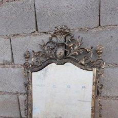 Antigüedades: ESPEJO ANTIGUO DE BRONCE DORADO ESTILO LUIS XV ISABELINO, CORNUCOPIA ANTIGUA ISABELINA RETRO VINTAGE. Lote 101941499
