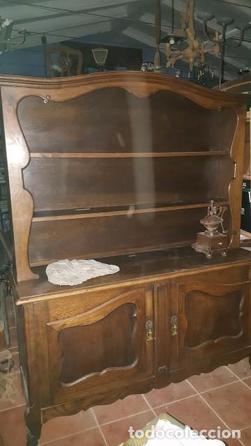 APARADOR EN MADERA DE ROBLE DE DOS CUERPOS. (Antigüedades - Muebles Antiguos - Aparadores Antiguos)