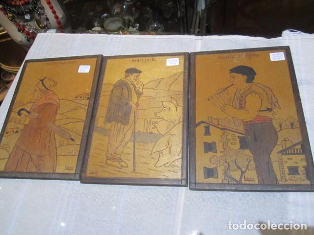 3 cuadros técnica pirografía, sobre madera. 16 - Comprar en ...