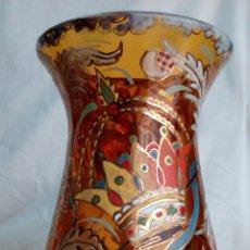 Antigüedades: JARRÓN CRISTAL PINTADO CIRERA/ ROYO. Lote 101993744