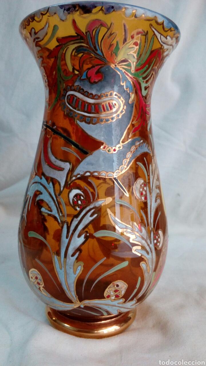 Antigüedades: Jarrón cristal pintado Cirera/ Royo - Foto 2 - 101993744