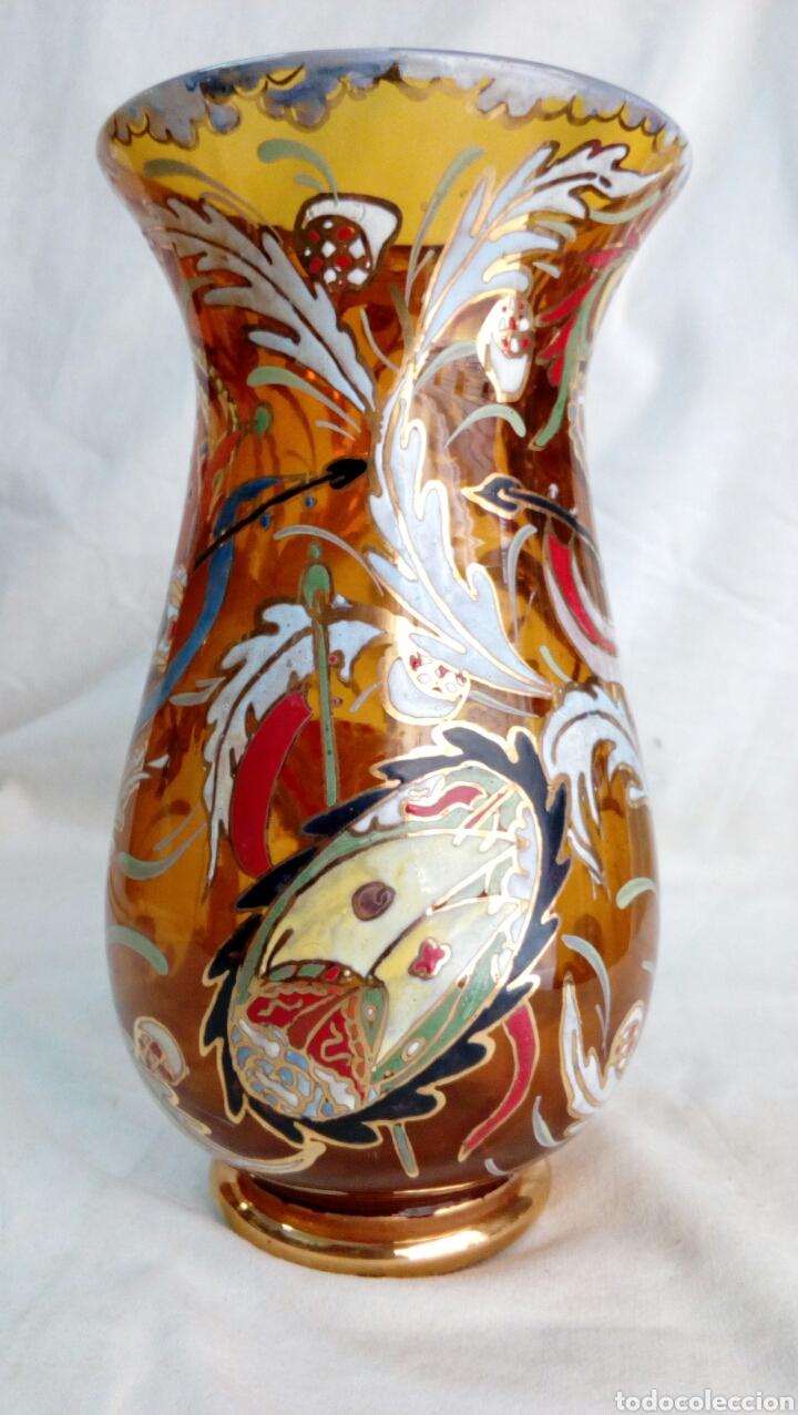 Antigüedades: Jarrón cristal pintado Cirera/ Royo - Foto 3 - 101993744