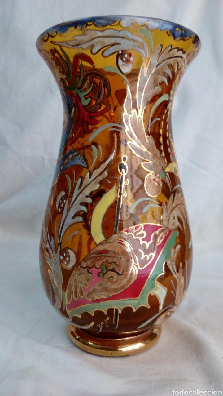 Antigüedades: Jarrón cristal pintado Cirera/ Royo - Foto 4 - 101993744