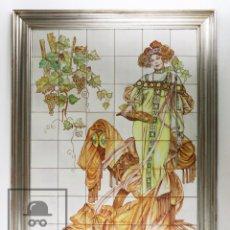 Antigüedades: MURAL REALIZADO CON AZULEJOS PINTADOS - ESTILO MODERNISTA / ART NOUVEAU - FIRMADO DA PAUL. Lote 101997523