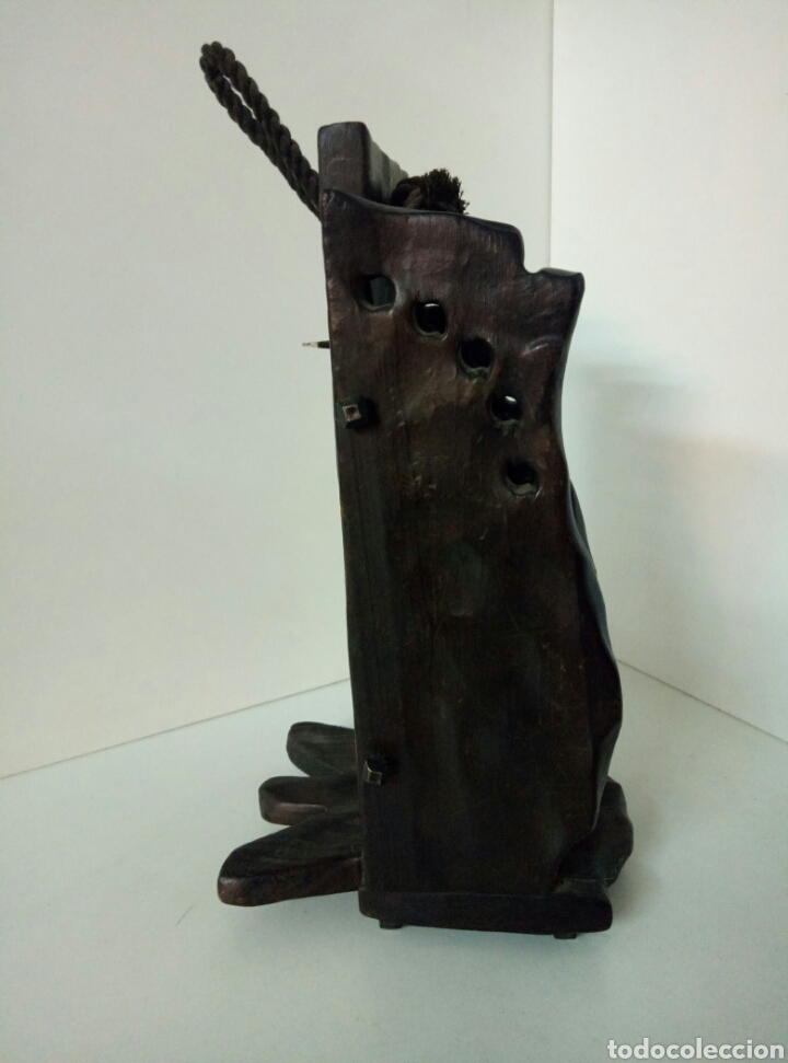 Antigüedades: RUSTICO Farol de pared de vela hecho de madera REPLICA DEL MONASTERIO DE PIEDRA MEDIDAS 28X12X14CMS - Foto 4 - 102104671