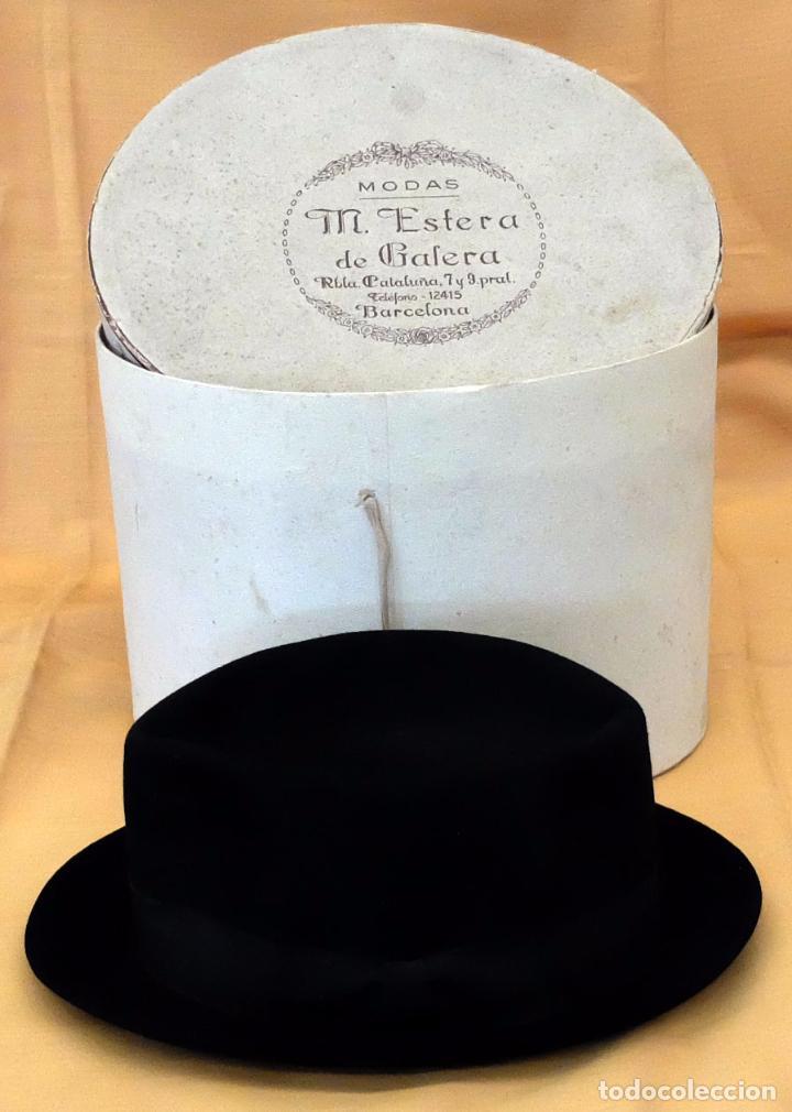 SOMBRERO TIPO BORSALINO PARA CABALLERO DE PRINCIPIOS DEL SIGLO XX DE LA CASA LLORENS DE BARCELONA (Antigüedades - Moda - Sombreros Antiguos)