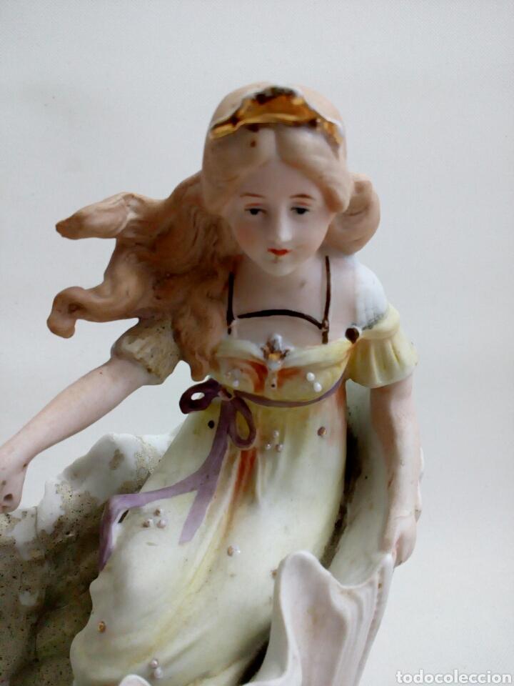 Antigüedades: CENTRO DE MESA PORCELANA BISCUIT MODERNISTA, NINFA CON ANGELITO, ART NOUVEAU, ART NOVEAU, ART DECO, - Foto 5 - 102345212