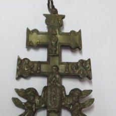 Antigüedades: CRUZ GRANDE METÁLICA DE CARAVACA ANTIGUA. Lote 103157423