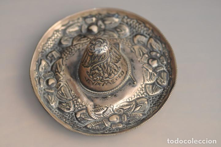 Antigüedades: GORRO SOUVENIR DE PLATA DE LEY CONTRASTADA 925 MEXICO , VIVA MEXICO - Foto 4 - 102362399
