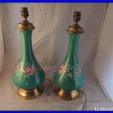 Antigüedades: QUINQUES LAMPARAS EN PORCELANA DECORADOS A MANO. Lote 102364343