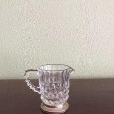Antigüedades: JARRITA DE CRISTAL TALLADO CON BASE DE PLATA. Lote 102368699