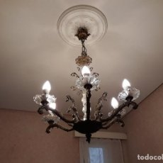 Antigüedades: LAMPARA CRISTAL 5 BRAZOS . Lote 102392495