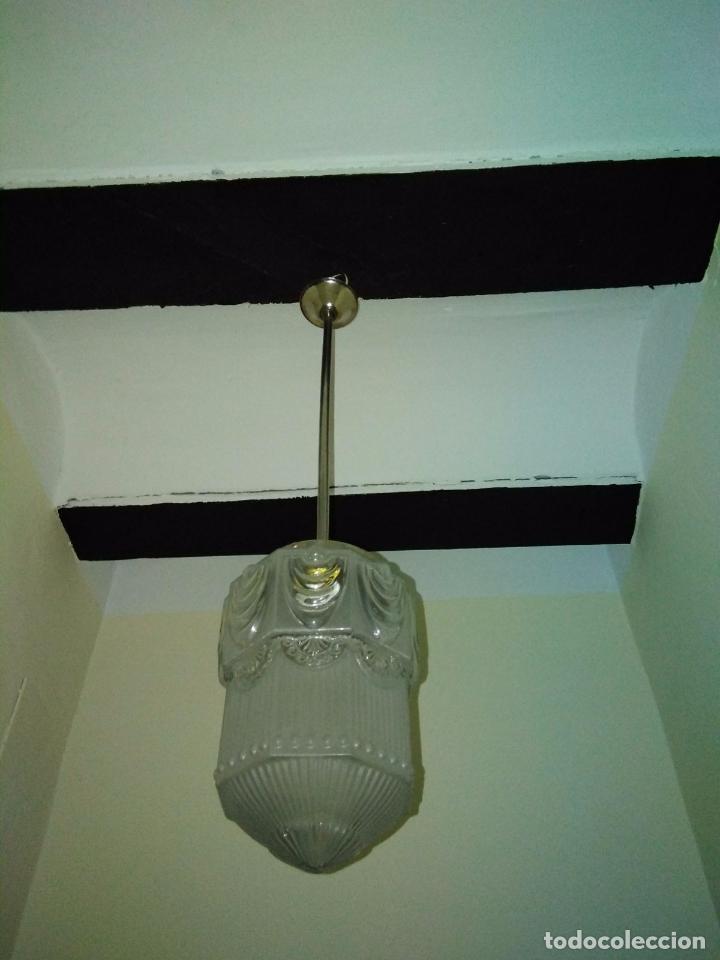 LAMPARA TECHO CROMADA CON TULIPA ART DECO O MODERNISTA. ORIGEN FRANCÉS CIRCA 1910. RESTAURADA (Antigüedades - Iluminación - Lámparas Antiguas)
