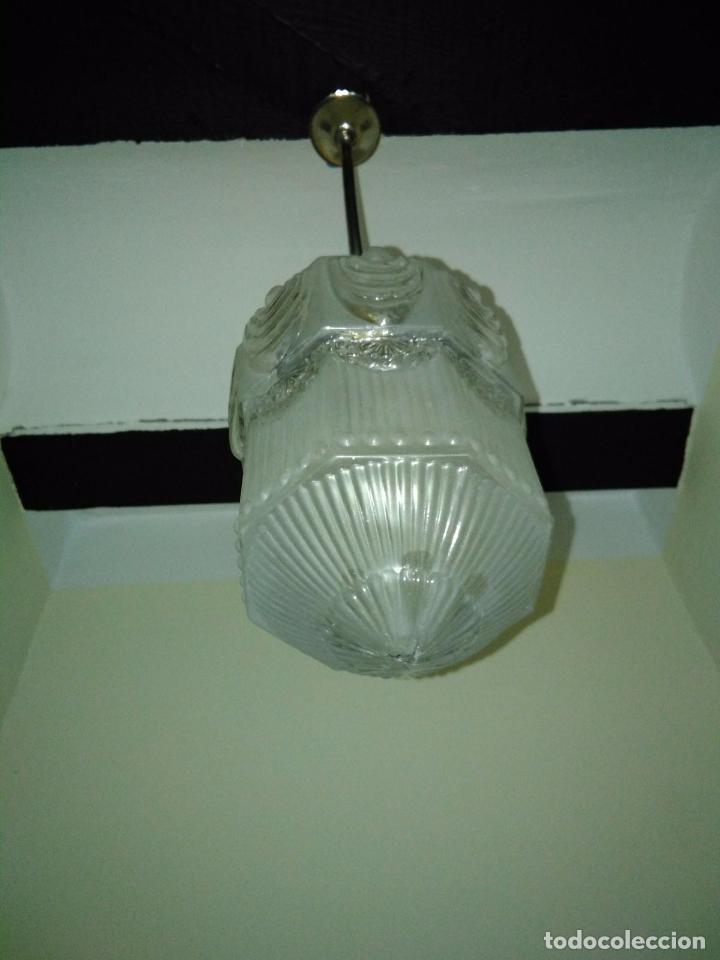Antigüedades: LAMPARA TECHO CROMADA CON TULIPA ART DECO O MODERNISTA. ORIGEN FRANCÉS CIRCA 1910. RESTAURADA - Foto 2 - 102412419