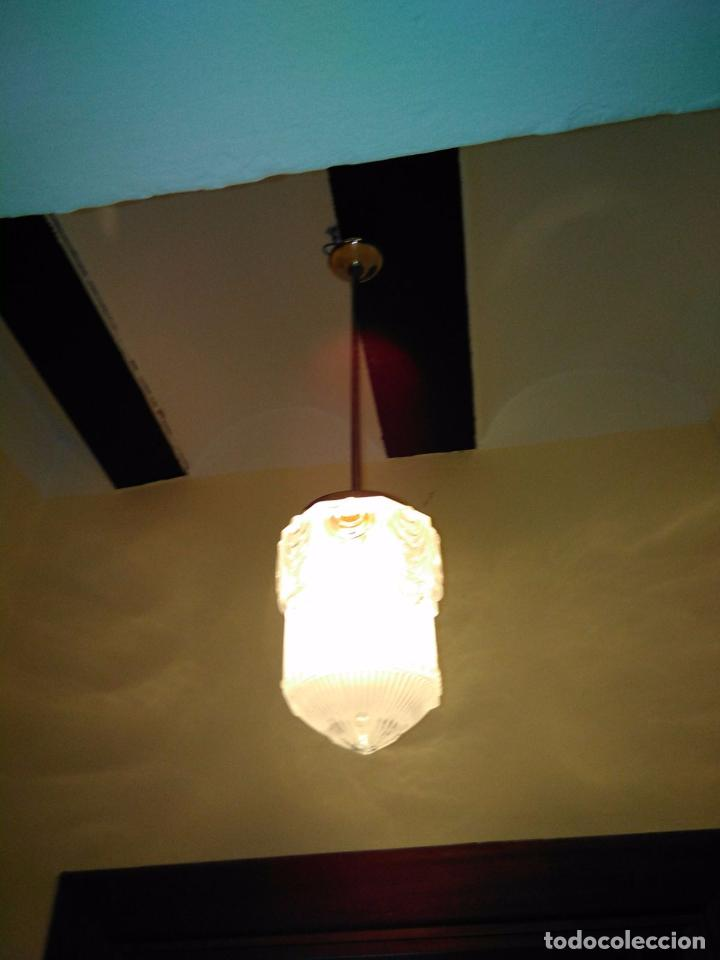 Antigüedades: LAMPARA TECHO CROMADA CON TULIPA ART DECO O MODERNISTA. ORIGEN FRANCÉS CIRCA 1910. RESTAURADA - Foto 3 - 102412419