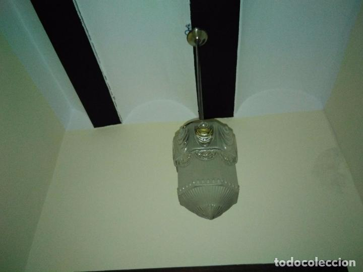 Antigüedades: LAMPARA TECHO CROMADA CON TULIPA ART DECO O MODERNISTA. ORIGEN FRANCÉS CIRCA 1910. RESTAURADA - Foto 4 - 102412419