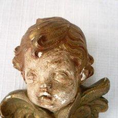 Antigüedades: ANGEL PARA COLGAR EN ESTUCO POLICROMADO. Lote 102415283