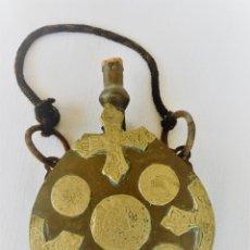 Antigüedades: ANTIGUO OBJETO ARABE DE LATON CON MOTIVOS RELIGIOSOS TIPO CANTIMPLORA - INCENSARIO. Lote 102424155