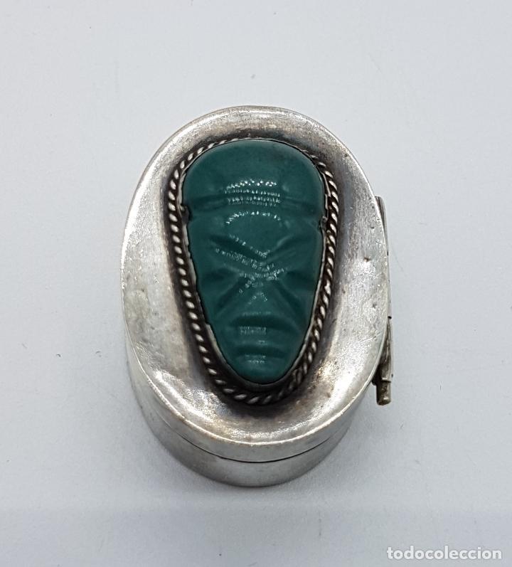 Antigüedades: Cofre antiguo en plata de ley punzonada con cabujon de jade tallado a mano, TULUM, MEXICO . - Foto 5 - 102443399