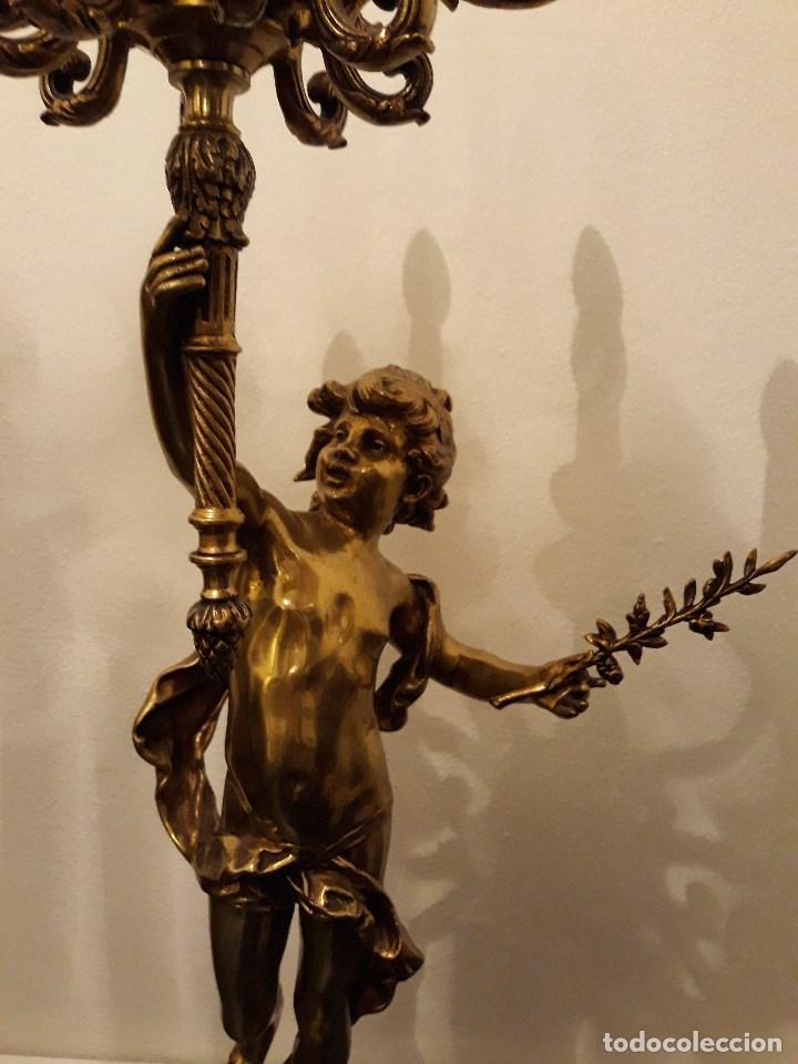 LAMPARA DE PIE EN BRONCE Y MARMOL ( GRANDE Y MUY PESADA) (Antigüedades - Iluminación - Lámparas Antiguas)