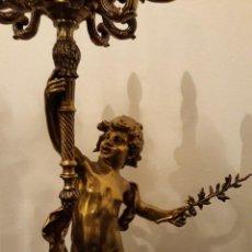 Antigüedades: LAMPARA DE PIE EN BRONCE Y MARMOL ( GRANDE Y MUY PESADA). Lote 102460515