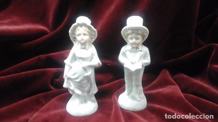Antigüedades: Pareja de figuras en porcelana inglesa - Foto 8 - 93945205