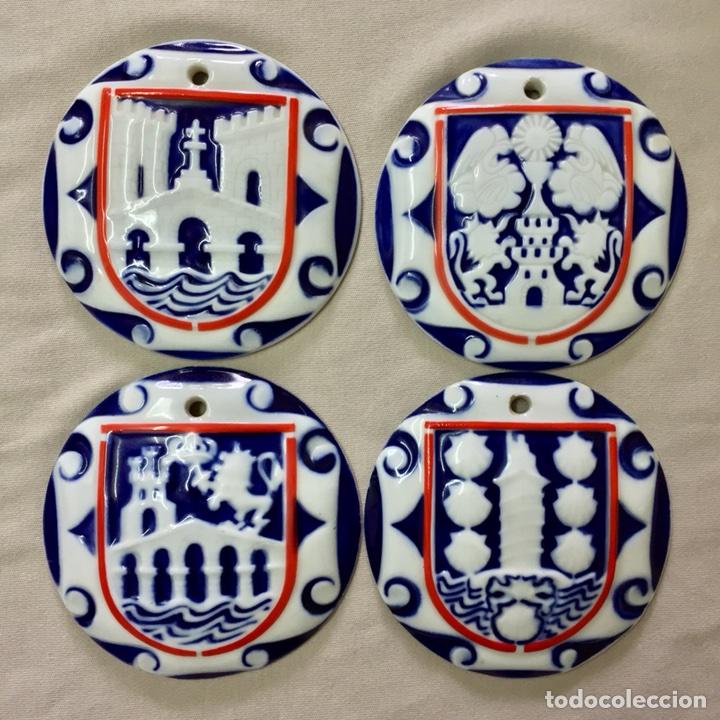 4 PLACA PORCELANA SARGADELOS LA CORUÑA ORENSE PONTEVEDRA LUGO MEDALLA GALICIA PROVINCIAS ESCUDO (Antigüedades - Porcelanas y Cerámicas - Sargadelos)