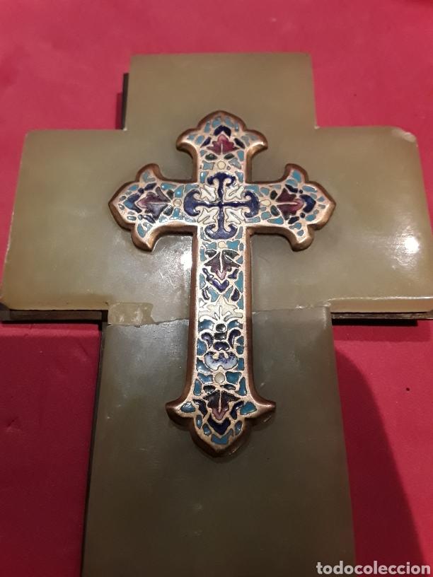 Antigüedades: Antigua benditera en esmalte cloissone sobre onix - Foto 2 - 102507586