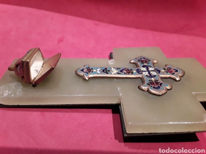 Antigüedades: Antigua benditera en esmalte cloissone sobre onix - Foto 4 - 102507586
