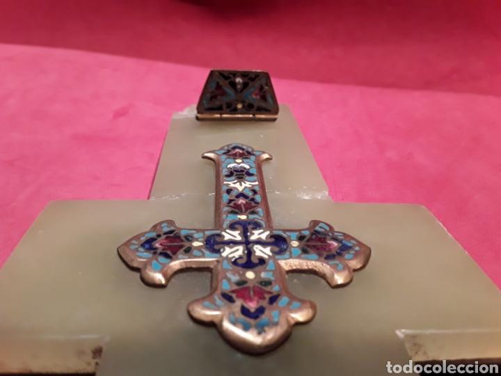 Antigüedades: Antigua benditera en esmalte cloissone sobre onix - Foto 5 - 102507586