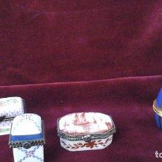 Antigüedades: CUATRO CAJITAS EN PORCELANA FINA , ACTUALES. Lote 165648016