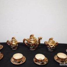 Antigüedades: JUEGO DE CAFÉ ANTIGUO DE PORCELANA CHINA SATSUMA. Lote 270880323