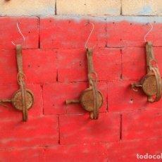 Antigüedades: LOTE 3 ANTIGUOS CEPOS DE CAZA CAMPO,HIERRO FORJA,GRAN TAMAÑO,UNO PUNZONES. Lote 102630323