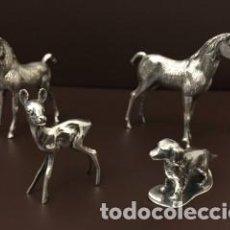 Antigüedades: CONJUNTO DE CUATRO FIGURAS DECORATIVAS DE PLATA DE LEY MACIZA. Lote 102631219