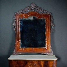 Antigüedades: CONSOLA CON ESPEJO ISABELINA. MADERA DE CAOBA SIGLO XIX. Lote 102689295